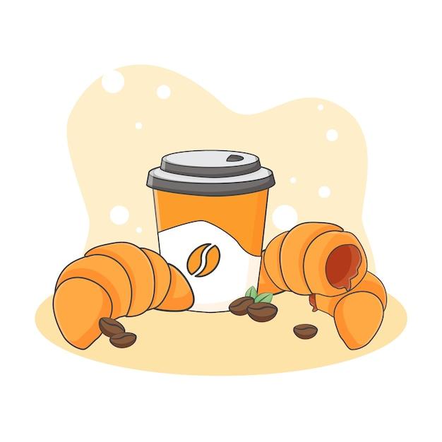 Ładny Ikona Ilustracja Rogalik I Kawy. Koncepcja Ikona Słodkie Jedzenie Lub Deser. Styl Kreskówki Premium Wektorów