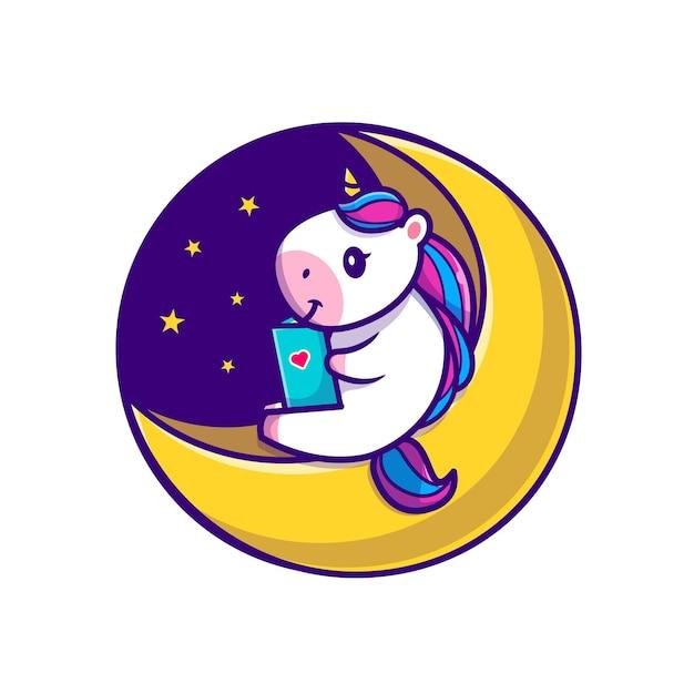 Ładny Jednorożec Czytanie Książki Na Księżyc Ikona Ilustracja Kreskówka Darmowych Wektorów