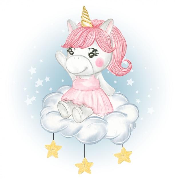 Ładny Jednorożec Dziewczyna Siedzi Na Chmury I Gwiazdy Premium Wektorów