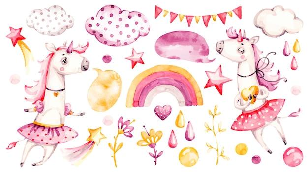 Ładny Jednorożec Dziewczynka Ilustracja Projekt Premium Wektorów