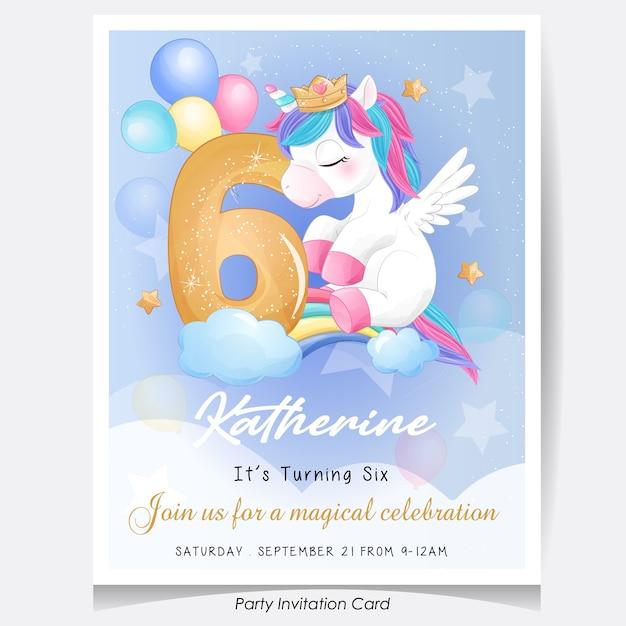 Ładny Jednorożec Urodziny Zaproszenie Karta Ilustracja Premium Wektorów