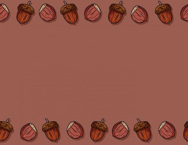 Ładny jesień kreskówka orzechy laskowe i żołędzie kreskówka wzór. spadek dekoraci tła tekstury płytka Premium Wektorów