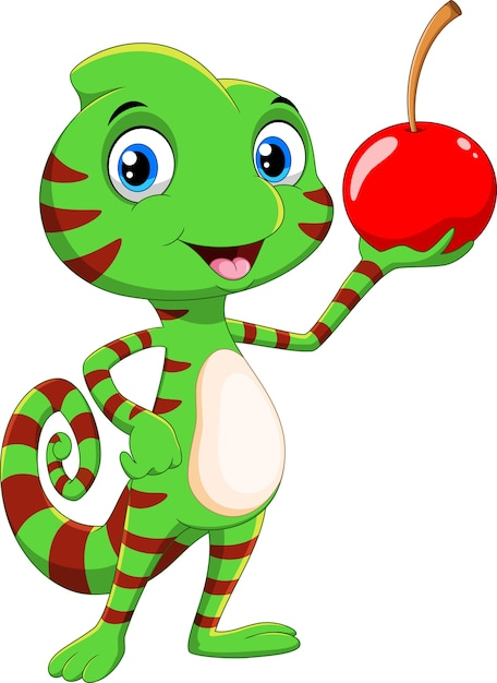 Ładny Kameleon Kreskówka Z Owocami Wiśni Premium Wektorów