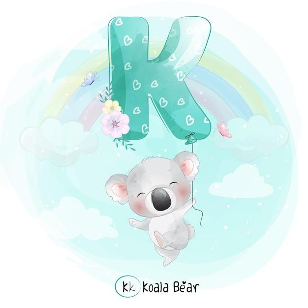 Ładny Koala Latający Balonem Alfabetu-k Premium Wektorów