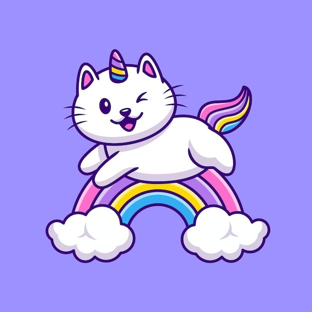 Ładny Kot Jednorożec Latający Ilustracja Kreskówka. Koncepcja Ikona Dzikiej Przyrody Darmowych Wektorów