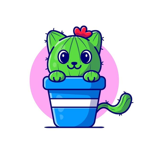 Ładny Kot Kaktus Kreskówka Ikona Ilustracja. Darmowych Wektorów