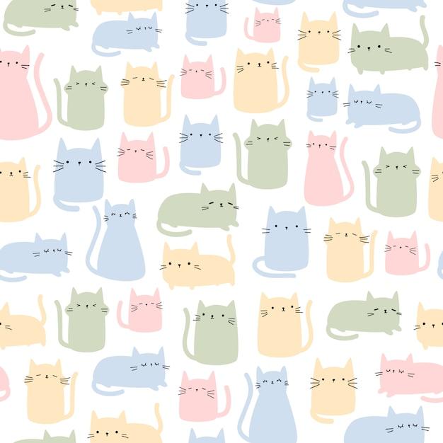 Ładny kot kolorowy kreskówka doodle wzór Premium Wektorów