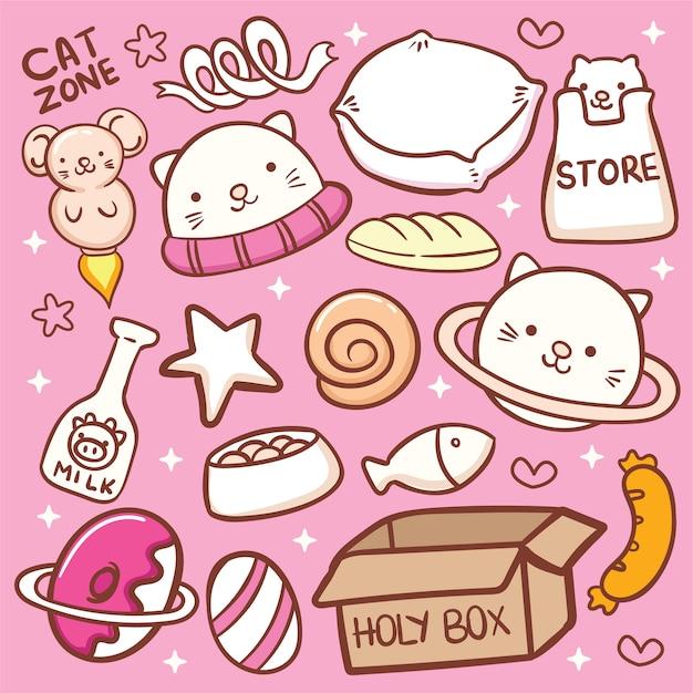 Ładny kot powiązanych obiektów doodle Premium Wektorów