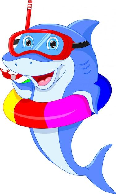 Ładny Kreskówka Delfin Premium Wektorów