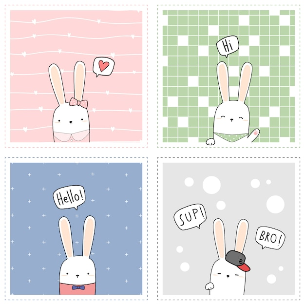 Ładny królik królik kwadratowa karta Premium Wektorów