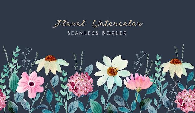 Ładny Kwiat Ogród Akwarela Bezszwowe Granica Premium Wektorów