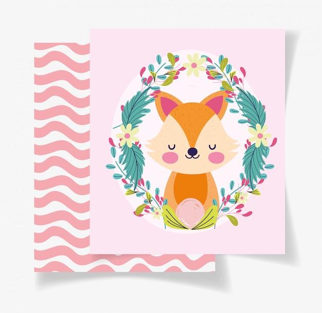 Ładny lis wieniec kwiaty karta baby shower Premium Wektorów