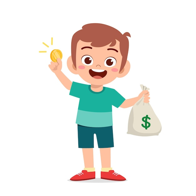 Ładny Mały Chłopiec Dziecko Nosi Worek Gotówki I Monet Premium Wektorów