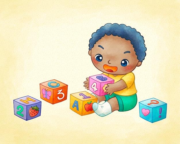 Ładny Mały Chłopiec Gra Bloki Konstrukcyjne W Grafice Premium Wektorów