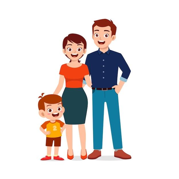 Ładny Mały Chłopiec Z Mamą I Tatą Razem Premium Wektorów