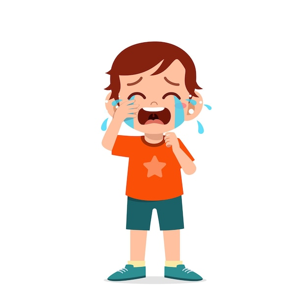 Ładny Mały Chłopiec Z Wyrażeniem Płacz I Napad Złości Premium Wektorów