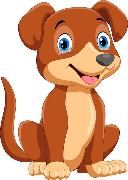 Ładny Mały Pies Kreskówka Premium Wektorów