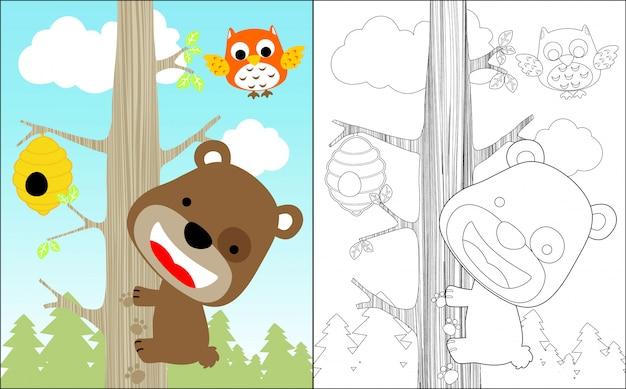 Ładny Niedźwiedź Kreskówka Wspinaczka Drzewo Dla Słodkiego Miodu Premium Wektorów