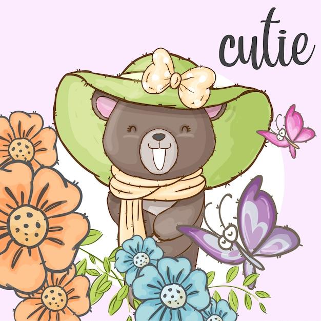 Ładny Niedźwiedź W Kwiat Ramki Ręcznie Rysowane Zwierząt Premium Wektorów