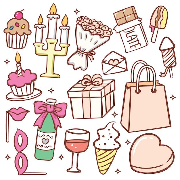 Ładny obiekt doodle urodziny zestaw Premium Wektorów