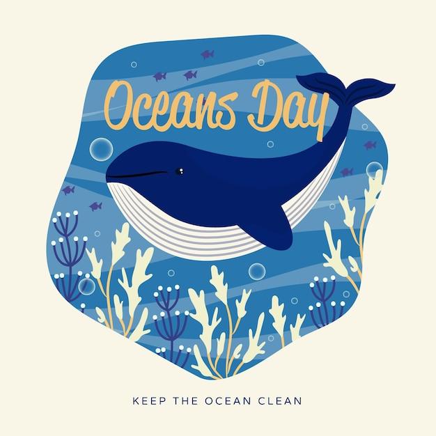 Ładny Ocean Ręcznie Rysowane Dzień Oceanów Darmowych Wektorów
