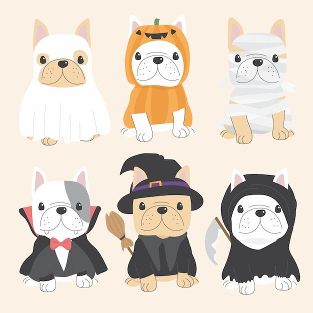 Ładny pies buldog francuski w kolekcji halloween kostium płaski Premium Wektorów