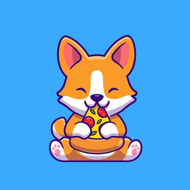 Ładny Pies Corgi Jedzenie Pizzy Ikona Ilustracja Kreskówka. Koncepcja Ikona żywności Dla Zwierząt Na Białym Tle. Płaski Styl Kreskówki Darmowych Wektorów