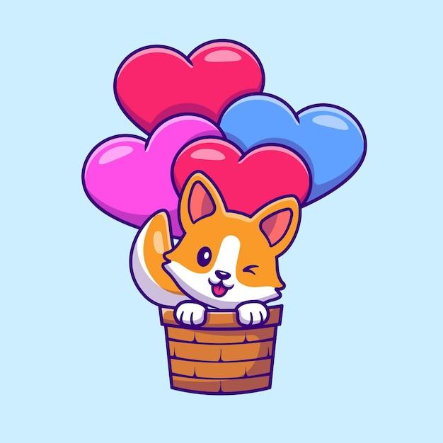 Ładny Pies Corgi Latający Z Kreskówki Miłość Balon Darmowych Wektorów