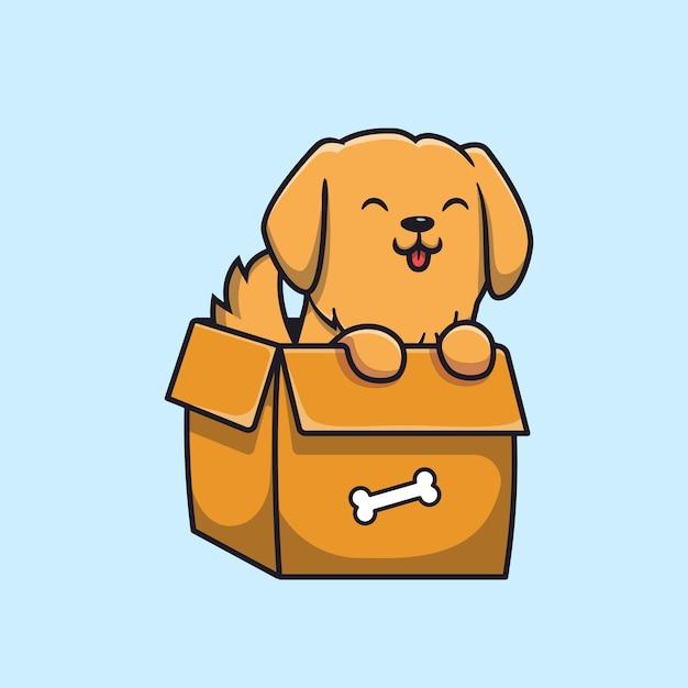 Ładny Pies Grający W Pudełku Cartoon Darmowych Wektorów