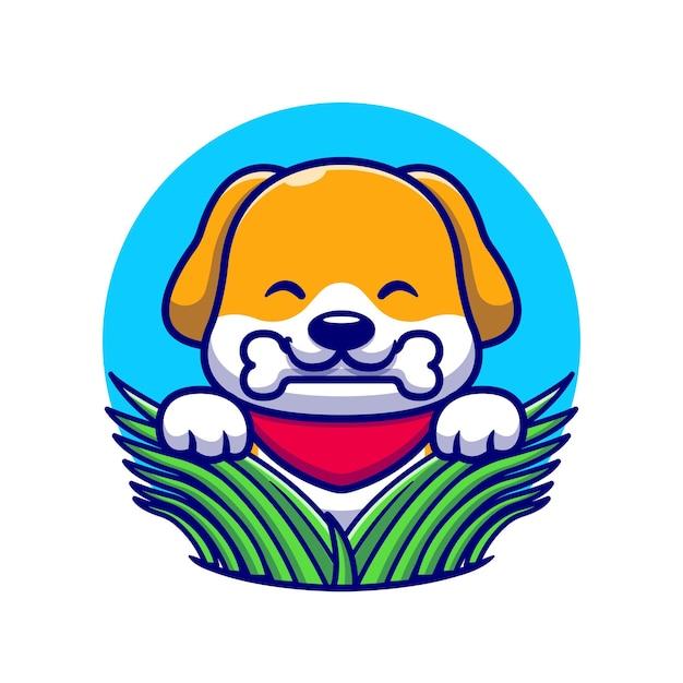 Ładny Pies Jedzenie Kości Na Trawie Ikona Ilustracja Kreskówka. Premium Wektorów