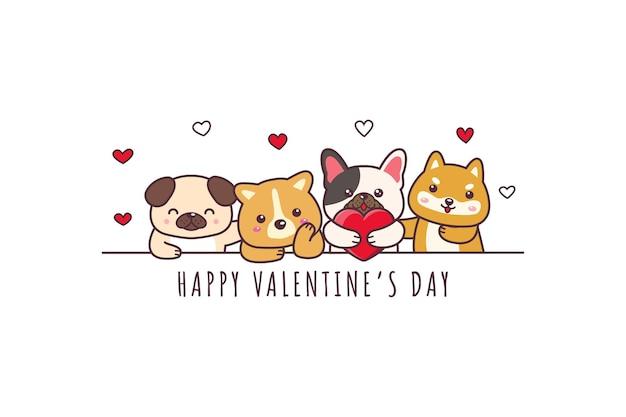 Ładny Pies Rysunek Szczęśliwy Valentine's Day Doodle Premium Wektorów