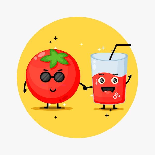 Ładny Pomidor I Sok Pomidorowy Maskotka Trzymając Się Za Ręce Premium Wektorów