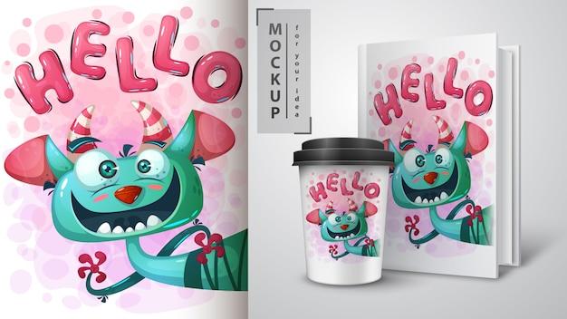Ładny potwór plakat i merchandising Premium Wektorów