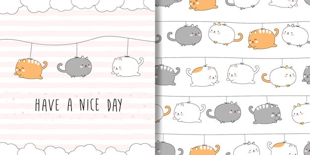 Ładny pyzaty kot kreskówka doodle wzór i karta okładka Premium Wektorów