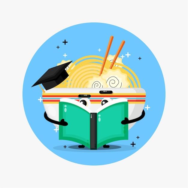 Ładny Ramen Maskotka Czytając Książkę Premium Wektorów
