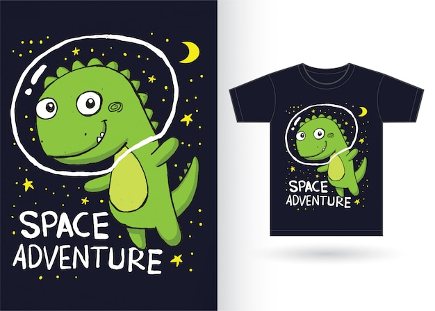 Ładny Ręcznie Rysowane Dinozaura Na Koszulkę Premium Wektorów