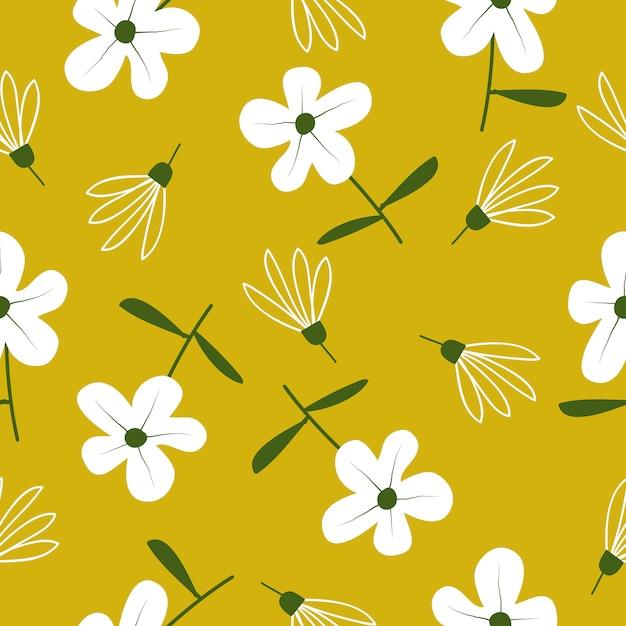 Ładny Ręcznie Rysowane Kwiatowy Wzór Bez Szwu Premium Wektorów