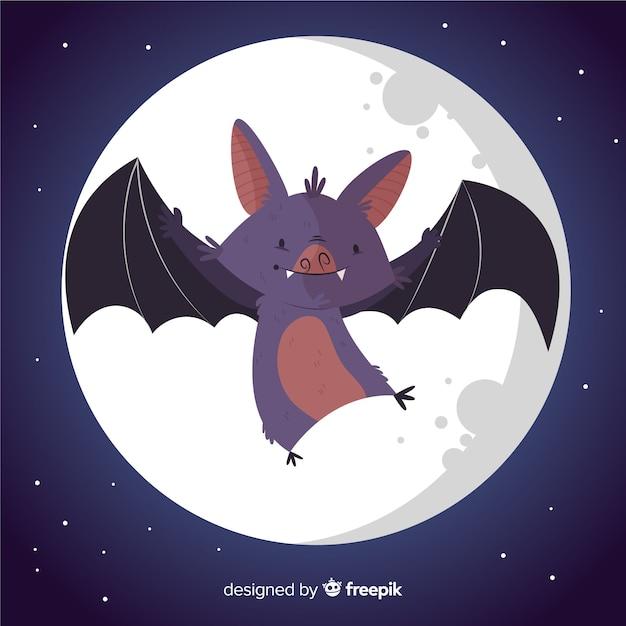 Ładny ręcznie rysowane nietoperz halloween Darmowych Wektorów