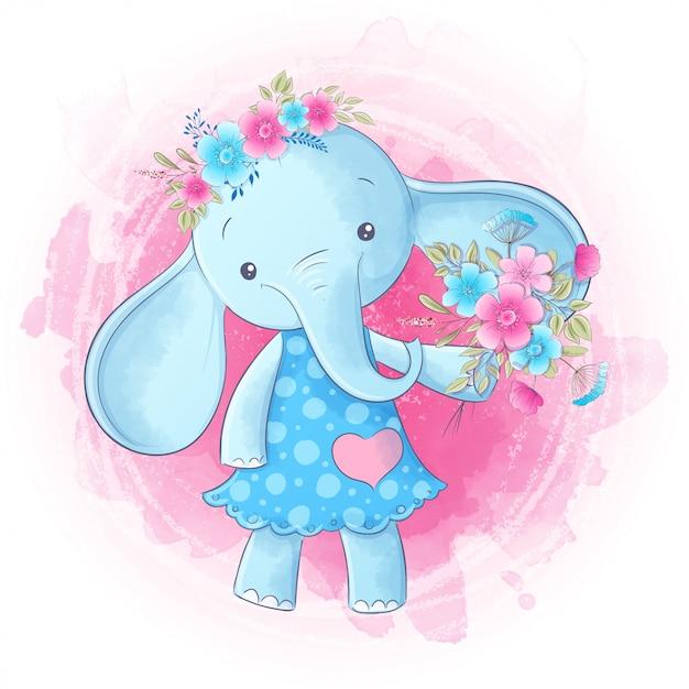 Ładny rysunek ręka słonia dziewczyna kreskówka. wektor Premium Wektorów