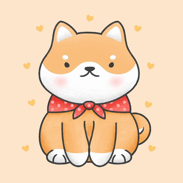 Ładny Shiba Inu Pies Siedzi Kreskówka Ręcznie Rysowane Stylu Premium Wektorów