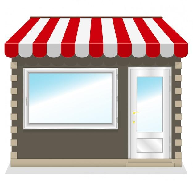Ładny sklep z czerwonymi markizami Premium Wektorów