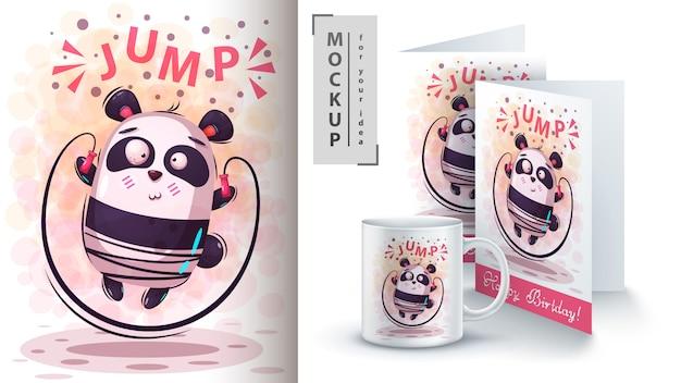 Ładny sportowy panda plakat i merchandising Premium Wektorów