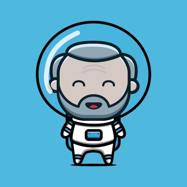 Ładny Stary Astronauta Ikona Ilustracja Kreskówka Premium Wektorów
