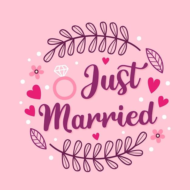Ładny Styl Wiadomości ślubnej Napis Darmowych Wektorów