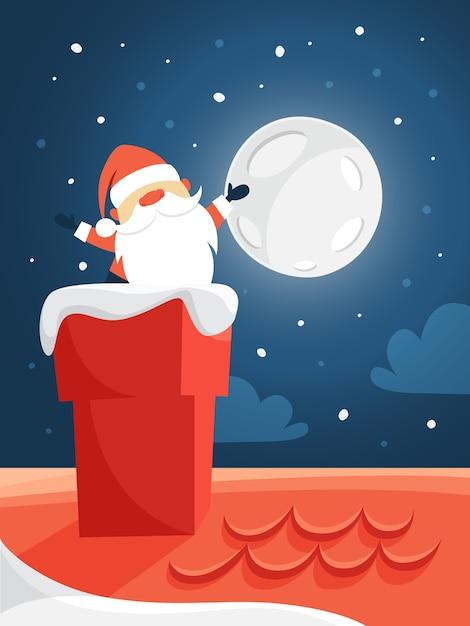 Ładny święty Mikołaj W Czerwonych Ubraniach Macha Z Komina. Wesołych świąt I Nowego Roku. Nocne Niebo I Księżyc W Tle. Ilustracja Lat Premium Wektorów