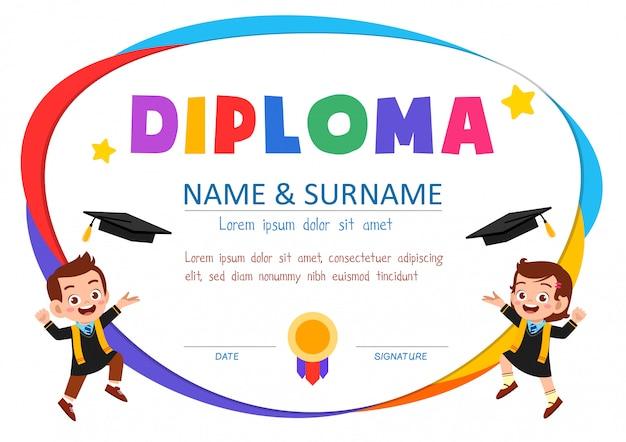 Ładny Szablon Certyfikatu Dla Ucznia Premium Wektorów