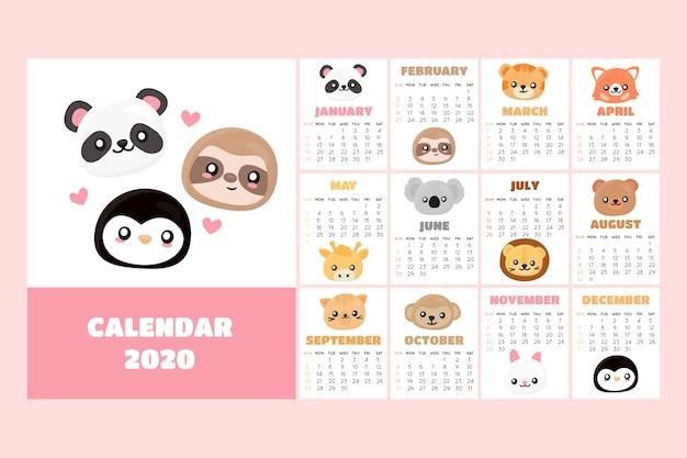 Ładny Szablon Kalendarza 2020 Darmowych Wektorów