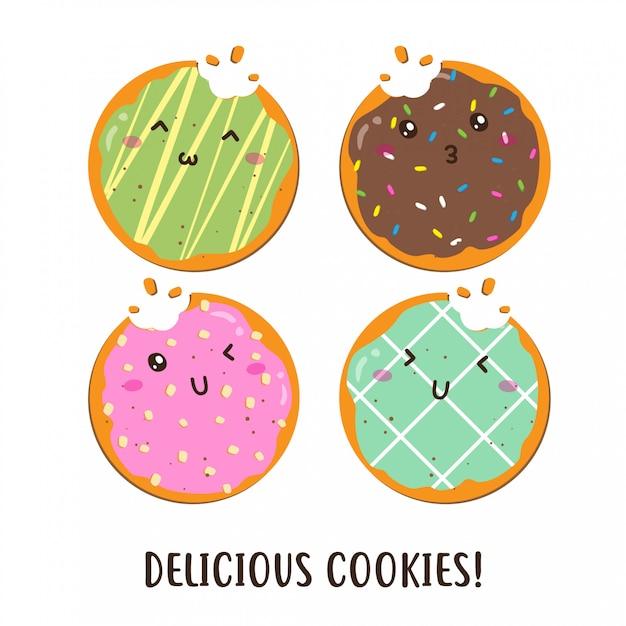 Ładny Szczęśliwy Różne Smaki Projektowania Wektorowego Plików Cookie Premium Wektorów