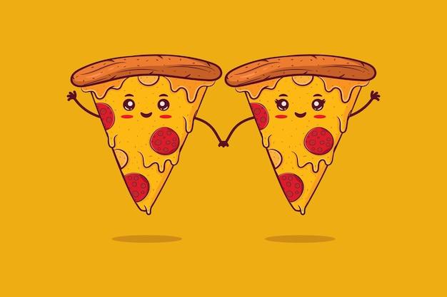 Ładny Szczęśliwy Uśmiechający Się Para Pizzy Premium Wektorów