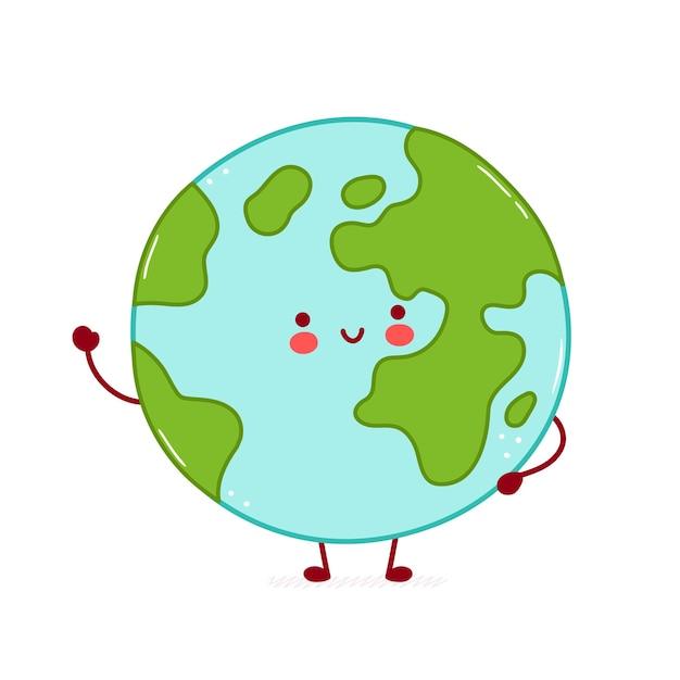 Ładny Szczęśliwy Zabawny Charakter Planety Ziemi. Premium Wektorów